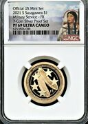 2021 S Sacagawea 1 Military F.r. From 7-coin Silver Set Ngc Pf69 Uc Portrait