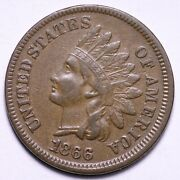 1866 Major 1/1 Indian Head Cent Penny Choice Au Free Shipping E556 Xccj