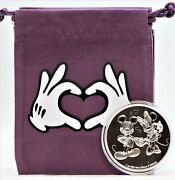 Mickey And Minnie Mouse Disney Love Hearts 1 Oz Silver Coin Niue 2 W/ Bag - Jk626