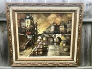 Mcm Gothic Cityscape Barges On Canal Carved Mcm Frame 32andrdquox 24andrdquo