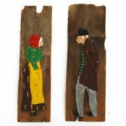 Wood Carvings Man And Woman Wooden Wall Art Folk His Hers Restroom Markers Pub