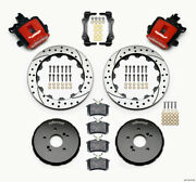 Wilwood Combination Parking Brake Rear Kit 12.88in Drilled Red Honda S2000