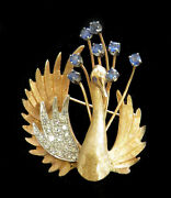 Vintage 14k Yellow Gold Diamond And Sapphire Swan Pin Back Brooch