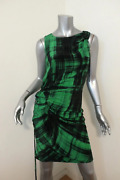 Thakoon Dress Green/black Drawstring Ruched Printed Silk Size 2 Sleeveless Shift