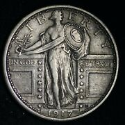 1917-d Type 1 Standing Liberty Silver Quarter Choice Xf+ Free Shipping E292 Ycnm