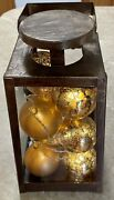 Old Fashioned Metal Lamp Frame Lighted Christmas Bulbs Battery Operated Door