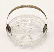 Antique Germany 1920s Crystal Candy Bowl Sterling Silver 800 Handle Lead Adolf