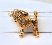 14k Gold French Poodle Dog Charm Pendant, Moving Head