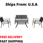 Modern Outdoor Patio Conversation Set Furniture Square 4-piece Table And Chairs