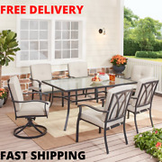 Modern Outdoor Patio Dining Set Furniture Square 7-piece Table And Soft Chairs