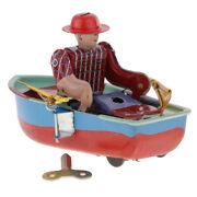 Retro Boat Clockwork Metal Tinplate Toy Collectible Gift - Wind Up To Row 2