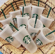 20pk Starbucks Reusable Frosted Ice Cold Drink Cup With Lid And Straw Venti 24 Oz