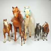 Lot Of 6 Plastic Toy Horse Figurines Large Small Mixed Breed Pony Teal Saddle