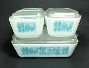 Pyrex Amish Butterprint Complete 8 Piece Refrigerator Dishes Turquoise Mint Cond
