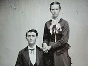 Identified Half Plate Tintype Photo Fisher Hardman Orleans Indiana Young Couple