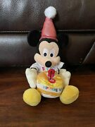 Vintage Disney Mickey Mouse Happy Birthday Cake Candle 16 Plush Doll Toy