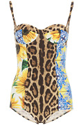 New Dolce And Gabbana Patchwork Print Balconette One-piece Swimsuit O9a75j Oni56 V