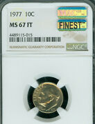 1977 Roosevelt Dime Ngc Ms67 Ft Pop-2 Extremely Rare Mac Finest Mac Spotless