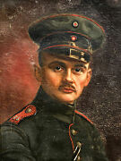 1916 Painting Ww1 German Officer Portrait Iron Cross Wwi Signed 13th Div Somme