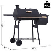 Bbq Grill Charcoal Outdoor Portable Offset Smoker Wheels Stand Barbecue Cooker