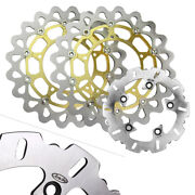 Front Rear Brake Disc Rotors Gold Pads Fit Yamaha Yzf R1 2004-2006 05 Motorcycle