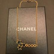 Coco Black Three Star Gold Plate Chain Necklace Mint Unused