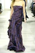 Collection Purple Label Ruffle Plaid Jewel Long Dress Runway Gown 4