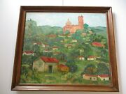 Large Huge 1960and039s Painting Carl Pappe Mexico Landscape Village Town Listed Rare