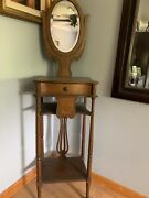 Beautiful Antique Oak Shaving Stand With Mirror With Free Freight Shipping