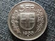 Switzerland 5 Francs .835 Silver Coin 1933 B