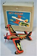 1950's Windup Tin Toy Airplane -- Sky Guard - F-84e - Made In Japan - With Box