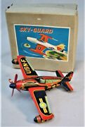1950and039s Windup Tin Toy Airplane -- Sky Guard - F-84e - Made In Japan - With Box