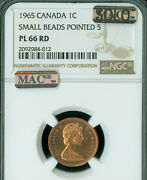 1965 Small Beads Pointed Canada Cent Ngc Pl66 Mac Solo Finest 4 Known Spotless