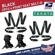 2x Takata Race 4 Point Snap-on 3 Racing Seat Belt Harness With Camlock Black