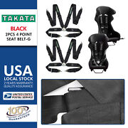2pcs Takata Race 4 Point Snap-on 3 Racing Seat Belt Harness With Camlock Black