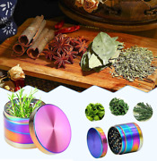 Herb Spice Grinder 4 Piece Metal Tobacco Zinc Alloy Metal Rainbow Smell Proof