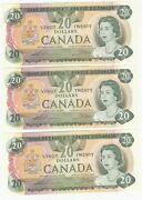 Lot Of 3 Consecutive 1979 Bank Of Canada 20 Notes - 56578211628-30 - Unc
