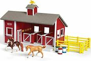 Breyer - Stablemates - Red Stable Set With Two Horses