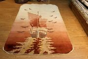 5and039x7and039 Vintage Chinese Oriental Rug Pictorial Beige And Brown Handmade Ship And Birds