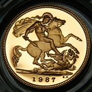 1987 Uk Andpound0.50 Proof Half Sovereign Gold Coin In Royal Mint Box W/coa No. 00819