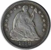 1858/inverted Date Liberty Seated Silver Half Dime Fs-302 Ef Uncertified