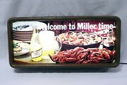 Vintage 1980s Welcome To Miller Time High Life Beer 12x25 Lighted Bar Sign