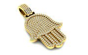 Solid 14k Gold Hamsa Pendant 245 Real Natural Diamond 1.8 Tcw Protection Jewelry