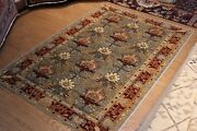 6' X 9' Floral Design Top Quality Handmade Vegetable Dyed Red-green Wool Rug