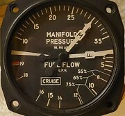 United Instruments Aircraft Fuel Flow And Manifold Pressure Gauge
