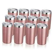 Oz Tumbler With Lid, Stainless Steel Insulated Coffee Travel Mug, 12 Rose Gold