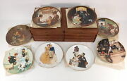 Lot Of 8 Vtg Edwin M. Knowles Norman Rockwell Decorative Plates And Storage Case