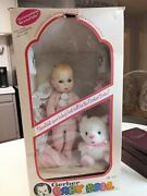 """Gerber 12"""" Baby Doll 1979 In Box With Baby Powder, Clothes And Teddy Bear. New"""
