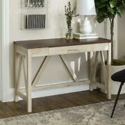 Woven Paths Rustic Farmhouse Computer Writing Desk With Drawer, Brown/white Oak