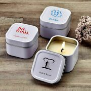 20-200 Personalized White Screen Printed Square Travel Candle Tin Wedding Favor